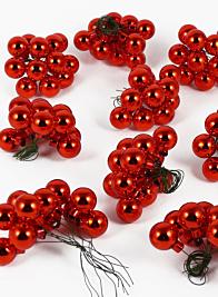 25mm Shiny Red Glass Balls on Picks, Set of 144