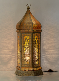 gold iron moroccan look table lamp