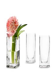 2 x 2 x 6in Square Vase, Set of 4
