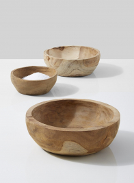 natural teak wood bowl salt restaurant catering supplies