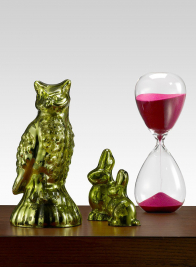 Pink Hourglass, Lime Bird & Rabbits