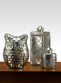 Antiqued Silver Glass Owl & Jars with Lids