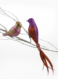 Gold & Copper Glittered Bird Ornaments