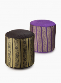Black, Purple, & Gold Jacquard Poufs