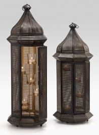 Iron Mesh Lanterns With Glass Votives