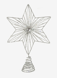 Silver Glitter & Jewel Star Tree Topper