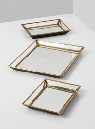 9 1/2 x 11 1/2in Brass & Mirror Tray