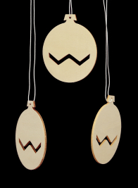 3IN BLOND WOOD CUTOUT DISK ORNAMENT, SET OF 12