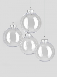 3in Clear Plastic Ornament Balls, Set of 4