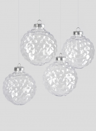 4in Clear Plastic Ornament Balls, Set of 4
