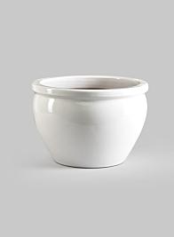 11 3/4in White Glazed Pot