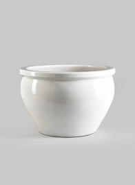 15 1/2in White Glazed Pot