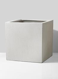 white fiberstone modern square planter
