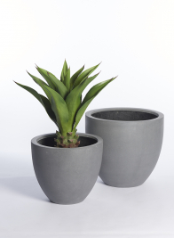 Grey Fiberstone Round Pots