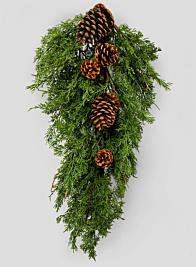 Cypress Door Swag With Pine Cones