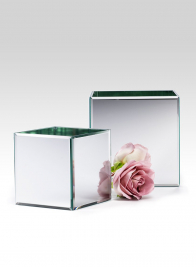 Beveled Edge Mirror Cube Vases