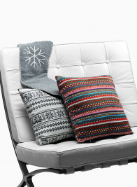14in White & Grey Fair Isle Knit Pillow