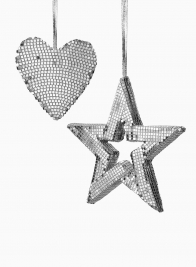 6 1/2in Silver Mirror Heart Ornament