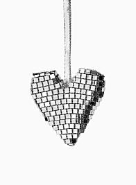 3in Silver Mirror Heart Ornament, Set of 6