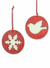 5in Felt & Red Wood Bird Disk Ornament