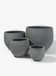 Round Rough Grey Ficonstone Pots