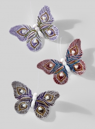 5in Pink, Purple, & Dark Purple Butterflies With Pearls, Set of 6