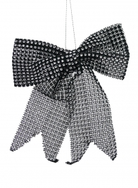 6in Black With Silver Diamond Bow