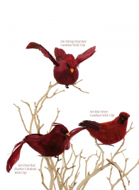 6in Red Velvet Cardinal With Clip