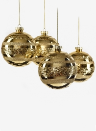 4in Shiny Gold With Glitter Stripes Ornament Ball, Set of 4