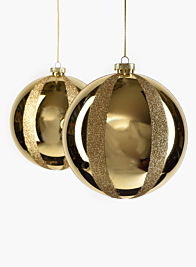 5 1/2in Shiny Gold & Gold Glitter Plastic Ornament Ball, Set of 2