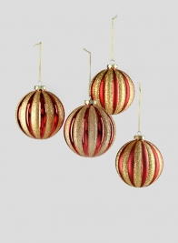 4in Red/Gold Scalloped Glitter Balls, Set of 4