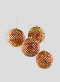 5in Red/Gold Durian Glitter Ball, Set of 4