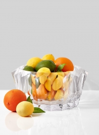 acrylic crystal bowl with lemons and oranges
