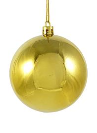80mm Shiny Gold Plastic Ornament Balls, Set of 6