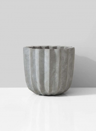 6 x 5in Cement Pleated Pot