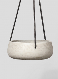 9 1/2in Round Stone Gray Cement Hanging Pot