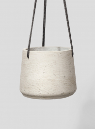8in Round Stone Gray Cement Hanging Cement Pot