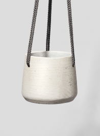 5 1/4in Round Stone Gray Cement Hanging Pot