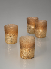 4in Pale Gold Ombre Glass Votive Holder, Set of 4