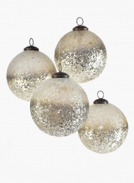 4in Pale Gold Ombre Glass Ornament Ball, Set of 4