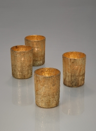 Pale Old Gold Glass Votive Holder, Set of 4