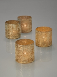 3in Pale Old Gold Glass Votive Holder, Set of 4