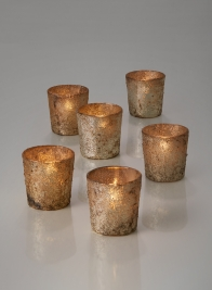 Old Silver Glass Votive Holder, Set of 6