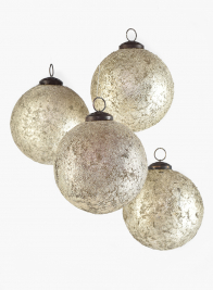 4in Pale Old Gold Glass Ornament Ball, Set of 4
