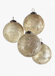 4in Mosaic Glass Ornament Ball, Set of 4
