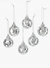 1 1/2in Mirror Ball Christmas Ornaments, Set of 6