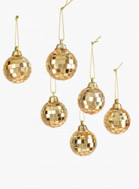 1 1/2in Gold Mirror Ball Christmas Ornaments, Set of 6