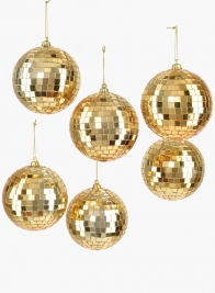 4in Gold Mirror Ball Christmas Ornaments, Set of 6