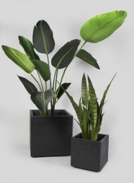 15in High Tribeca Charcoal Gravity Cube Planter