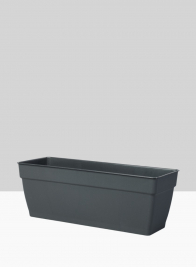 19 1/4in Loft  Black Window Box With Attached Saucer